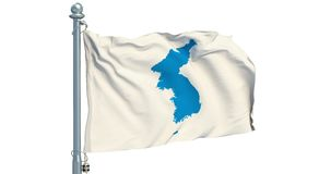 Korean Unification Flag on white background, animation. 3D rendering stock video footage