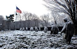 Korean War memorial on a beautiful snow day. Cold day with wonderful statues at Washington DC royalty free stock images