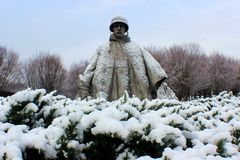 Korean War memorial with beautiful snow. Love to walk around and take such wonderful Stock Images