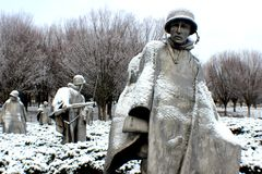 Korean War memorial. Cold winter snow morning statues Royalty Free Stock Photography