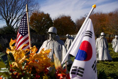 Korean War Memorial, Flags Stock Photography