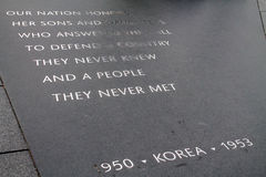 Korean war memorial inscription plaque Royalty Free Stock Photos