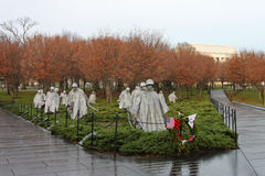 Korean War Memorial on Misty Morning Washington DC Stock Photo