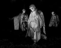 Korean War Memorial at night. This is a black and white capture of the Korean War Memorial in Washington DC at night Stock Photography