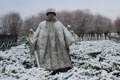 Korean War memorial snow day with cold wind blow. Nice morning to did that in Washington, D.C Royalty Free Stock Image