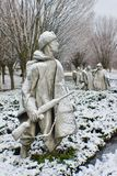 Korean War memorial statues covered snow. A great morning for photographer to do the great job stock photography