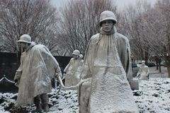 Korean War memorial statues covered snow. What a beautiful morning for photography in Washington DC Royalty Free Stock Photos