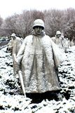 Korean War memorial statues looks beautiful that. Snow day makes art comes true in Washington DC royalty free stock image