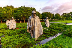 Korean War Veterans Memorial. Stainless Steel Statutes of soldiers in Korean War Veterans Memorial, Washington DC Stock Photos