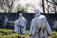 Korean War Veterans Memorial, Washington DC. The Korean War Veterans Memorial is located in Washington, D. C.'s West Potomac Park, southeast of the Lincoln Royalty Free Stock Images