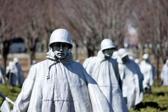 Korean War Veterans Memorial, Washington DC. The Korean War Veterans Memorial is located in Washington, D.C.'s West Potomac Park, southeast of the Lincoln Royalty Free Stock Image
