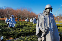 The Korean War Veterans Memorial in Washington DC, USA. It commemorates those who served in the Korean War, located in West Potomac Park, southeast of the Royalty Free Stock Photo