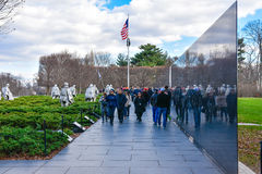 Korean War Veterans Memorial in Washington, DC, USA. The memorial consists in the Wall and 19 stainless steel statues Royalty Free Stock Images