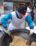 Korean Woman Cooking Street Food Stock Photos