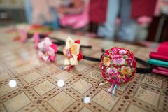 A Korean woman hair accessories. stock images