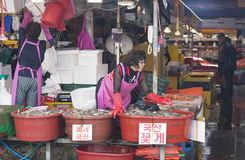 Korean woman selling fresh seafood at Incheon Complex Fish Market Stock Images