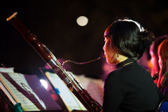 Korean Woman Symphony Orchestra Bassoon Stock Photography