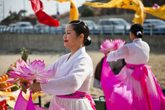 Korean Women Performing Buddist Ceremony Royalty Free Stock Photo