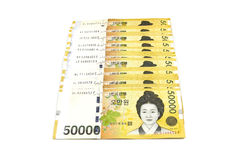 Korean Won currency bills. Isolated on white background Stock Images