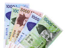 Korean Won currency bills money selection isolated on white background Royalty Free Stock Images