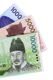Korean Won money isolated on white background Stock Images