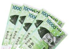 Korea, Korean Won currency bills money isolated on white background Stock Image