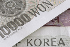 Korea, Korean Won currency bill detail close up Royalty Free Stock Images