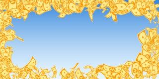 Korean won notes falling. Messy WON bills on blue sky background. Korea money. Delightful vector ill. Ustration. Pleasant jackpot, wealth or success concept vector illustration