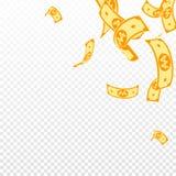 Korean won notes falling. Random WON bills on tran. Sparent background. Korea money. Delicate vector illustration. Eminent jackpot, wealth or success concept stock illustration