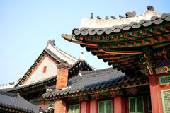 Korean wooden roof. Traditional old historic south korean wooden roof Royalty Free Stock Photos