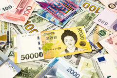 Korean and world currency money banknote. Business and  financial concept Stock Photography