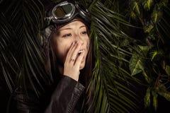 Korean young girl pilot screaming. In studio Royalty Free Stock Photos