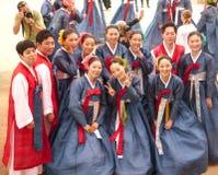 Korean young people celebrating Lotus Lantern Fest Royalty Free Stock Image