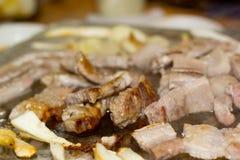 Koreaner grillte Schweinefleisch-Streifen Samgyeongsal Stockfoto