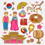 Koreanische Natur- und Kulturikonen kritzeln gesetzte Illustration Lizenzfreies Stockfoto