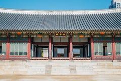 Koreanische traditionelle Architektur an Deoksugungs-Palast in Seoul, Korea Stockfotografie