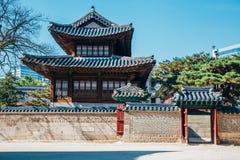 Koreanische traditionelle Architektur an Deoksugungs-Palast in Seoul, Korea Stockbild