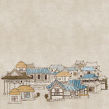 Koreanische traditionelle Häuser E stock abbildung