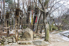 Koreanische traditionelle Totempfähle Stockfotografie