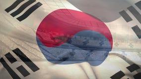 Koreanisches fahnenschwenkendes vor Stadion stock abbildung