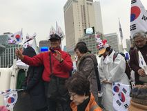 Koreans Wave Flags, Protest Impeachment of Park Royalty Free Stock Photo
