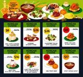 Koreansk design för kort för meny för kokkonstrestauranglunch stock illustrationer