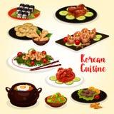 Koreansk kokkonstmenysymbol av kött och den havs- maträtten royaltyfri illustrationer