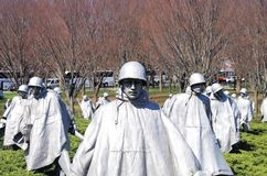 Koreansk krigsveteranminnesmärke, Washington, DC royaltyfria bilder