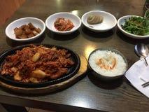 Koreansk mat i en tabell Arkivfoton