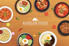 Koreansk mat på en trätabellbakgrund Vektorillustration till stock illustrationer