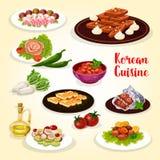 Koreansk matsymbol med disk av asiatisk kokkonst vektor illustrationer