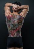 Koreansk modell med tatueringen royaltyfria bilder