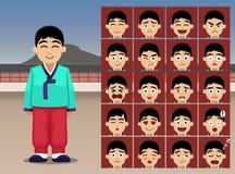 Koreansk pojketecknad filmsinnesrörelse vänder mot vektorillustrationen Royaltyfria Foton