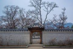 Koreansk traditionell v?ggstruktur royaltyfri fotografi